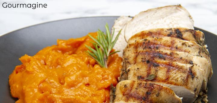 Bild eines Tellers mit geschnittenem Schweinefleisch und feinem Rüeblipüree
