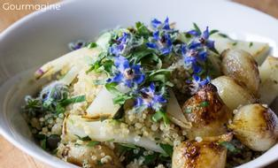 A bowl filled with quinoa and kohlrabi