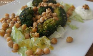 Brokkolistücke, Kichererbsen und Salatblätter angerichtet auf einem weissen Teller
